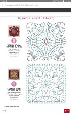 from Granny square collection 2016 Crochet Mandala Pattern, Granny Square Crochet Pattern, Crochet Blocks, Crochet Diagram, Crochet Chart, Crochet Squares, Diy Crochet, Crochet Doilies, Crochet Stitches