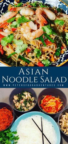 This Asian Noodle Salad comes from Central Asia. It's a colorful salad deliciously served cold or warm. Made with chicken shrimp bean vermicelli cilantro red peppers and shrimp a perfect combination! Asian Recipes, Beef Recipes, Chicken Recipes, Cooking Recipes, Healthy Recipes, Ethnic Recipes, Delicious Recipes, Noodle Recipes, Tasty