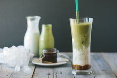 Thinking of how I could combine my two latest loves - matcha and salted caramel - this new beauty was born. An iced matcha and salted caramel latte.