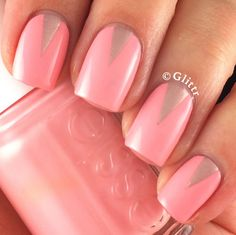 Nailpolis Museum of Nail Art | peach and gold triangle accents by Glittr