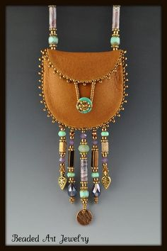 Leather and beads amulet bag