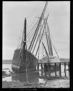 """Old hulks """"Hesper"""" and """"Luther Little. Eastport Maine, Wiscasset Maine, Sailboat Cruises, Old Sailing Ships, Abandoned Ships, Boston Public Library, Tall Ships, Historical Society, Water Crafts"""