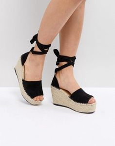18fa59caedf8f RAID Brigid Black Espadrille Wedge Sandals at asos.com