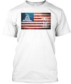 Gadsden Three Percenter American Flag White T-Shirt & Hoodie.