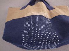 布と刺し子のコラージュbag 50.28.17cm