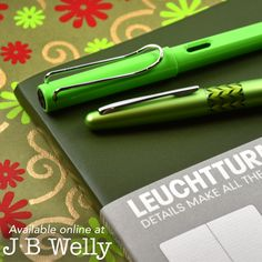 It's the Green Party! LAMY safari in green, Pilot Metropolitan Retro Pop in Green, and Leuchtturm1917 in Army Green. Available online at JBWelly.com