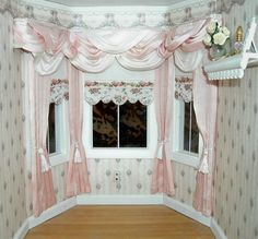 Dollhouse Miniature 1:12 scale Wide Bay Window Pink and White Curtains Valance Drapes. $45.00, via Etsy.
