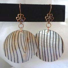 Bohemian Zebra Shell Disk Dangles in Copper Shells, Dangles, Copper, Bohemian, Drop Earrings, Beach, Jewelry, Shelled, Jewellery Making