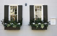 Black window boxes and shutters the James English House 49 South Battery Charleston SC If you were built in 1760 your windows might be slightly askew also Window Box Flowers, Window Boxes, Flower Boxes, Exterior Vinyl Shutters, House Shutters, Black Shutters, Design Salon, Window Awnings, Outdoor Window Shutters