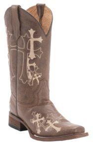 Corral® Circle G™ Women's Distressed Brown w/ Beige Cross Embroidery Square Toe Western Boots   Cavender's
