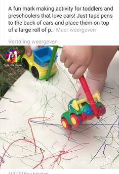 Leuke tekenactiviteit bij het thema vervoersmiddelen/verkeer Toddler Preschool, Toddler Activities, Love Car, Little Monsters, Mark Making, Stage, Education, Toys, Fun