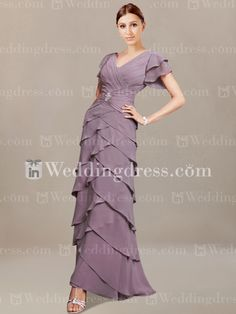 Tiered Chiffon Special Guests Dresses with Ruffled Sleeves MO129