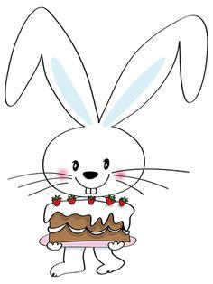 a cartoon rabbit holding a birthday cake Poster Happy Birthday Bunny, Happy Birthday Images, Happy Birthday Greetings, Birthday Wishes, Birthday Cards, Birthday Emoticons, Little Bunny Foo Foo, Happy Birthday Wallpaper, Harvest Decorations