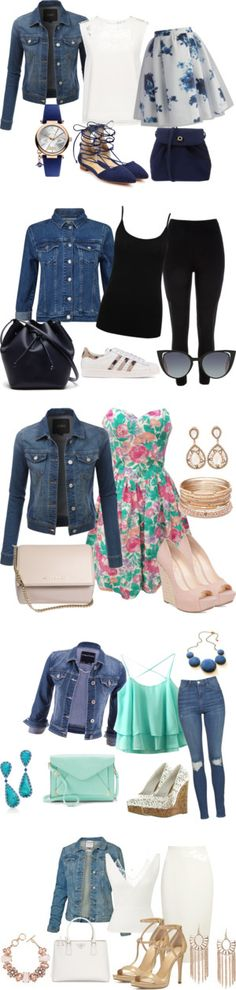denim jacket spring 2016 by vicinogiovanna on Polyvore featuring moda, LE3NO, Finders Keepers, Schutz, Vivienne Westwood, Chicwish, SpringStyle, DenimStyle, springflorals and spring2016
