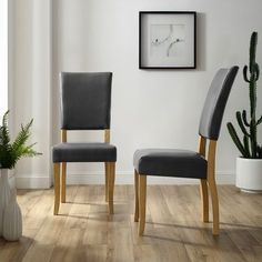 Open-Back Charcoal Parsons Dining Chairs Set of 2 054537f7ee2