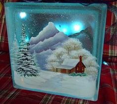 Painting Glass Blocks Holidays Ideas For 2019 Painted Glass Blocks, Decorative Glass Blocks, Lighted Glass Blocks, Hand Painted, Christmas Glass Blocks, Christmas Art, Christmas Decorations, Christmas Ornaments, Christmas Signs
