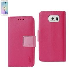 Reiko Wallet Case 3In 1 For Samsung Galaxy S6 Edge Plus G928V G928A Hot Pink With Interior Polymer Cover Hot Pink