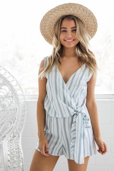 fit:standard sizing, relaxed style, light weight fabric, unlined, plunged neckline, open back, fabric waist tie, pull on style colour: blue stripe fabric:100% cotton length:approx. 35cm from waist to hemline our model is 163cm tall and is pictured in a size 8/S