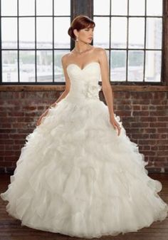 Ruffled Organza Wedding Dress Accented with a Removable Flower