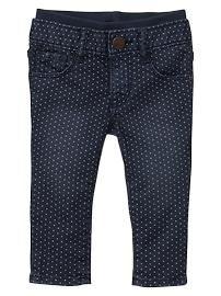 Knit-waist skinny dot jeans #skinnyjeans #baby