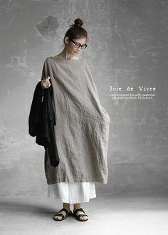 BerryStyle | Rakuten Global Market: Joie de Vivre French linen dyeing with vegetable dyes box dress (persimmon juice, gardenia)
