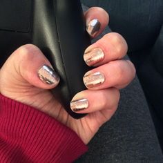 My Spring Break mani!!! Shiny yet subtle. I just love Jamberry's metallic nail wraps. This is Rose Gold paired with Silver Floral. Find them here: http://amykimsue.jamberrynails.net/finish/Metallic