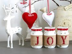 This is a custom designed & hand-painted set of 3 pint size Mason Jars wrapped in burlap to spell out...