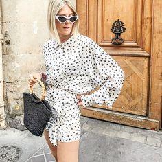 STREETSTYLE #streetstyle #fashionweek #polkadotdress Online Fashion Boutique, Saints, Clothes For Women, Shopping, Collection, Tops, Dresses, Style, Outerwear Women