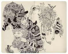James Jean (b. 1979, Taipei, Taiwan) - Puppet, 2013   Drawings: Ink on Paper, 2013