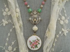 Assemblage Necklace Guilloche Locket by 58Diamond on Etsy