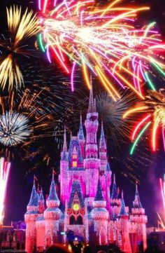 Disney Land Firework photography colorful night beautiful disney fun fireworks vacation castle disneyland