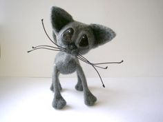 OOAk Hand crafted needle felted russian blue cat doll toy from lamb wool #AllOccasion