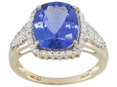4.65ct Rectangular Cushion Tanzanite With .35ctw Round White Diamonds 14k Yellow Gold Ring