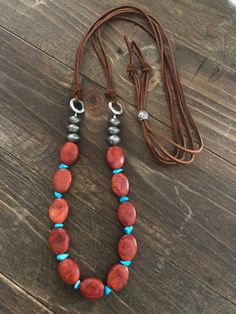 Chunky Red Coral and Turquoise Nugget Necklace, Long Leather Adjustable Western Necklace, Cowgirl Necklace, Cowgirl Jewelry, Western Jewelry by ManyBeadsOfSedona on Etsy beadednecklaces Wire Jewelry, Boho Jewelry, Beaded Jewelry, Handmade Jewelry, Jewelry Necklaces, Jewelry Design, Fashion Jewelry, Jewelry Ideas, Handmade Necklaces