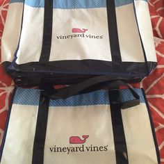 Vineyard Vines Reusable Tote Bags Two reusable tote bags from Vineyard Vines for the price of one! Includes two sheets of cute trademark whale tissue paper Vineyard Vines Bags Totes
