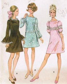 Vintage 1968 McCall's 9555 UNCUT Sewing Pattern Misses' Dress Size 10 Bust 32-1/2. $10.00, via Etsy.