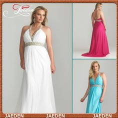 HE132 V-neck Halter Empire Waist Ruched Open Back Long Chiffon Fat Evening Dresses Plus Size $119.99