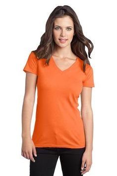 District - Juniors The Concert Tee V-Neck Style DT5501 #neon #orange #shirts #concert #basics