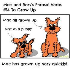 Mac and Rory's phrasal verbs #14: to grow up. English Grammar For Kids, Grammar Rules, Tigger, Growing Up, Homeschool, Mac, Disney Characters, Grow Taller, Homeschooling