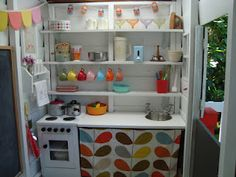 Love this play kitchen (inside the most darling play house you've ever seen) Playhouse Interior, Modern Playhouse, Girls Playhouse, Build A Playhouse, Playhouse Outdoor, Playhouse Ideas, Childrens Playhouse, Inside Playhouse, Toddler Playhouse