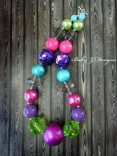 Hot Pink Purple Turquoise Green and Grey Chunky by babyzdesigns, $18.00