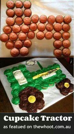 Tractor cupcake cake