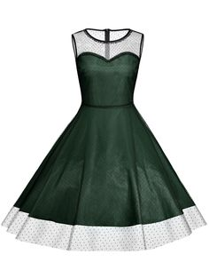 Plus Size Fit and Flare Sleeveless Dress in Deep Green | Sammydress.com