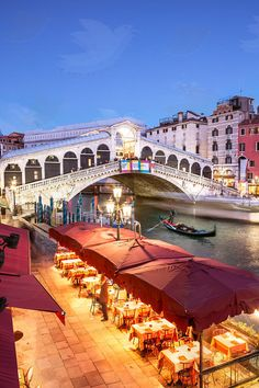 Stock photo for license and print - Italy, Veneto, Venice. Rialto bridge at dusk, high angle view - Matteo Colombo Travel Photography Places Around The World, The Places Youll Go, Oh The Places You'll Go, Italy Vacation, Italy Travel, Italy Trip, Bellagio Italy Hotels, Venice Attractions, Voyage Rome