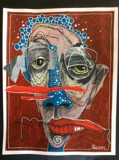 """(SOLD) Still playing with distortion in Ardith Goodwin's ( wonderful class. I am calling this """"The Face Of Struggle"""" Art Sketches, Art Drawings, Photographie Portrait Inspiration, Urbane Kunst, Funky Art, Weird Art, Psychedelic Art, Portrait Art, Portraits"""