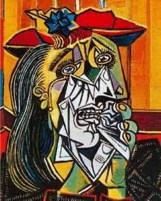 Weeping Woman by Pablo Picasso. A cubist piece from the most well known cubist, Picasso. This painting is a reference to one of the figures in Guernica, in which she cradles her dead child. Art Picasso, Picasso Portraits, Picasso Paintings, Cubist Portraits, Picasso Guernica, Oil Paintings, Pablo Picasso Artwork, Picasso Prints, Art Projects