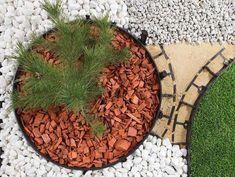 bordure jardin caoutchouc moderne paillage decoratif gravier concasse blanc