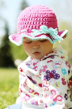 Perfect 6-9 crocheted sunhat  ☀CQ #crochet #crafts #DIY.  Thank you for sharing! ¯\_(ツ)_/¯