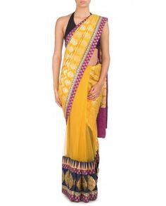 Poppy Yellow Sari with Brocade Motif Pallu