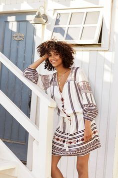 Holiday dressing doesn't get easier than this: a throw-on-and-go embroidered dress. Look effortlessly cool in this Antik Batik style, paired with tousled beach hair and statement sandals.